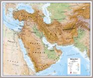 Huge Middle East Wall Map Physical (Pinboard & framed - Silver)