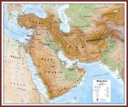 Huge Middle East Wall Map Physical (Pinboard & framed - Dark Oak)