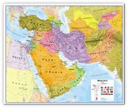 Medium Middle East Wall Map Political (Canvas)