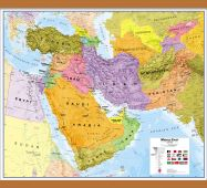 Medium Middle East Wall Map Political (Wooden hanging bars)