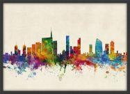 Medium Milan Watercolour Skyline (Wood Frame - Black)