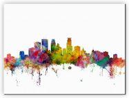 Large Minneapolis Watercolour Skyline (Canvas)