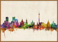 Large Moscow City Skyline (Pinboard & wood frame - Teak)
