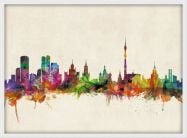 Small Moscow City Skyline (Pinboard & wood frame - White)