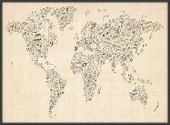 Large Music Notes World Map of the World (Wood Frame - Black)