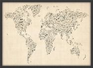 Small Music Notes World Map of the World (Wood Frame - Black)