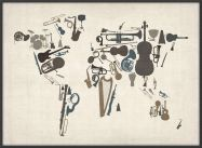 Large Musical Instruments Map of the World  (Wood Frame - Black)