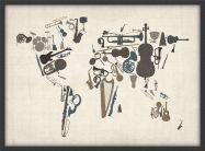 Medium Musical Instruments Map of the World  (Wood Frame - Black)