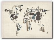 Small Musical Instruments Map of the World  (Canvas)