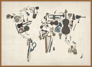 Large Musical Instruments Map of the World  (Pinboard & wood frame - Teak)