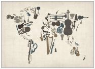 Large Musical Instruments Map of the World  (Pinboard & wood frame - White)