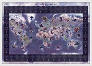 Medium Mythical Monster World Map (Wood Frame - White)