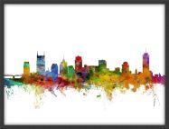 Medium Nashville Tennessee Watercolour Skyline (Wood Frame - Black)
