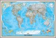 National Geographic World Classic Map (Pinboard & framed - Silver)