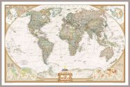 National Geographic World Executive Map (Pinboard & framed - Silver)