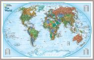 National Geographic World Explorer Map (Pinboard & framed - Silver)