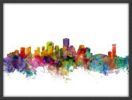 Small New Orleans Louisiana Watercolour Skyline (Wood Frame - Black)