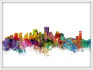 Small New Orleans Louisiana Watercolour Skyline (Wood Frame - White)