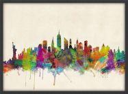 Small New York City Skyline (Wood Frame - Black)