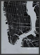 A3 New York City Street Map Print Charcoal (Wood Frame - Black)