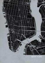 A4 New York City Street Map Print Charcoal (Matt Art Paper)