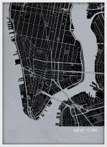 A3 New York City Street Map Print Charcoal (Wood Frame - White)