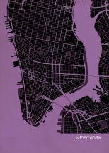 A4 New York City Street Map Print Mauve (Matt Art Paper)