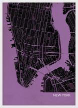 A3 New York City Street Map Print Mauve (Wood Frame - White)