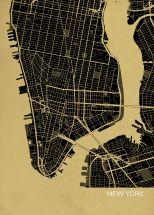 A3 New York City Street Map Print Straw (Matt Art Paper)