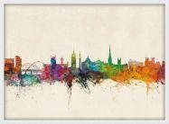 Medium Newcastle City Skyline (Wood Frame - White)