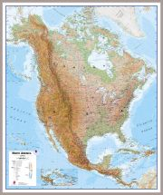 Large North America Wall Map Physical (Pinboard & framed - Silver)