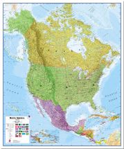 Large North America Wall Map Political (Pinboard)