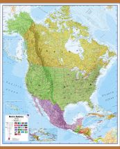 Huge North America Wall Map Political (Wooden hanging bars)