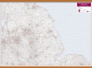 Northern England and the Midlands Postcode District Map (Wooden hanging bars)