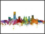 Large Oklahoma City Watercolour Skyline (Pinboard & wood frame - Black)