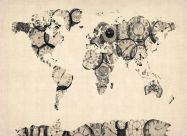 Huge Old Clocks Map of the World (Rolled Canvas - No Frame)