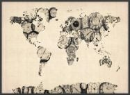 Large Old Clocks Map of the World (Pinboard & wood frame - Black)