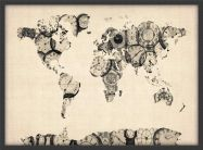 Medium Old Clocks Map of the World (Wood Frame - Black)
