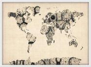 Medium Old Clocks Map of the World (Wood Frame - White)