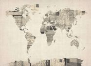 Old Postcards Art Map of the World