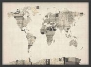 Small Old Postcards Art Map of the World (Pinboard & wood frame - Black)
