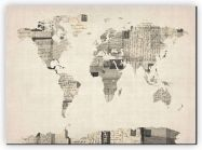 Extra Small Old Postcards Art Map of the World (Canvas)