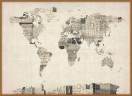 Large Old Postcards Art Map of the World (Pinboard & wood frame - Teak)
