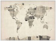 Large Old Postcards Art Map of the World (Pinboard & wood frame - White)