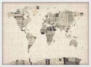 Small Old Postcards Art Map of the World (Wood Frame - White)