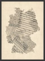 Small Old Sheet Music Art Map of Germany (Wood Frame - Black)