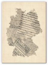 Huge Old Sheet Music Art Map of Germany (Canvas)