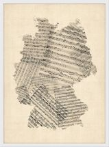 Small Old Sheet Music Art Map of Germany (Wood Frame - White)