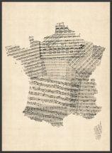 Large Old Sheet Music Map of France (Pinboard & wood frame - Black)