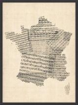 Medium Old Sheet Music Map of France (Wood Frame - Black)